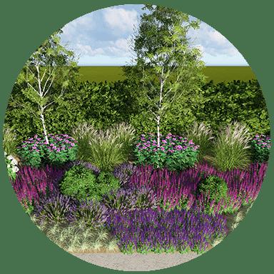różnorodna roślinność w ogrodzie