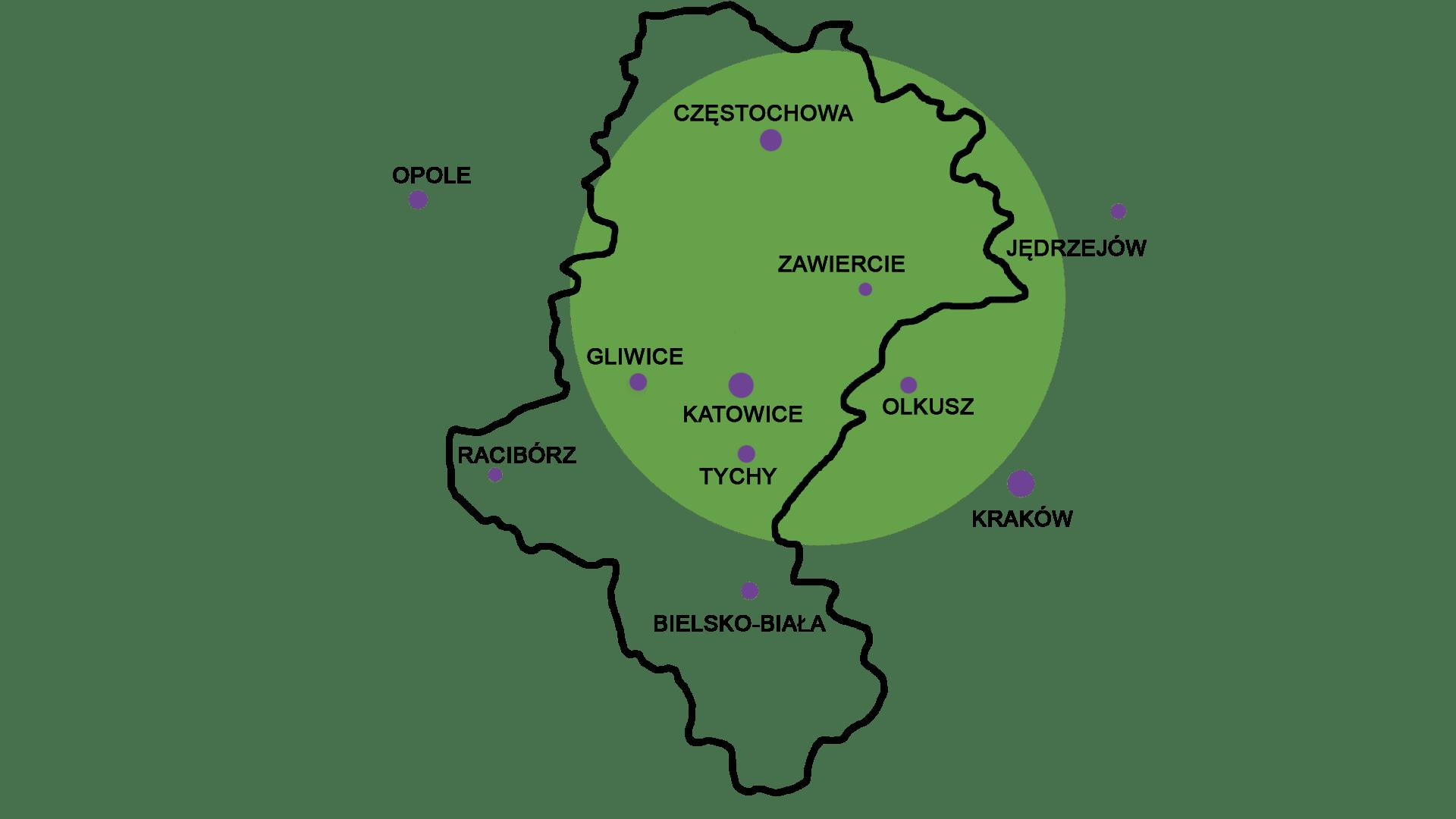 obszar działania obejmuje Śląsk, Małopolskę oraz województwo Świętokrzyskie